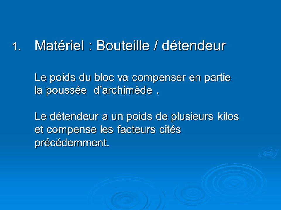 1. Matériel : Bouteille / détendeur Le poids du bloc va compenser en partie la poussée darchimède. Le détendeur a un poids de plusieurs kilos et compe