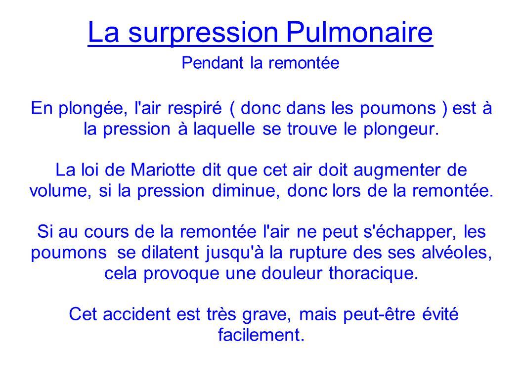 La surpression Pulmonaire En plongée, l air respiré ( donc dans les poumons ) est à la pression à laquelle se trouve le plongeur.