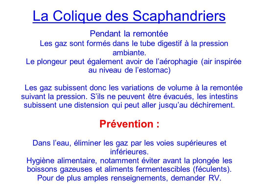 La Colique des Scaphandriers Les gaz sont formés dans le tube digestif à la pression ambiante.