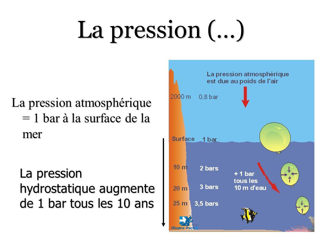 La pression (…) La pression atmosphérique = 1 bar à la surface de la mer La pression hydrostatique augmente de 1 bar tous les 10 ans