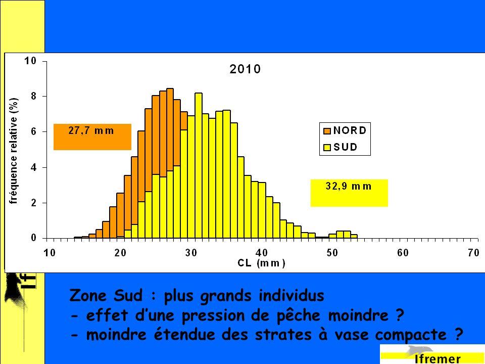 18 Zone Sud : plus grands individus - effet dune pression de pêche moindre .