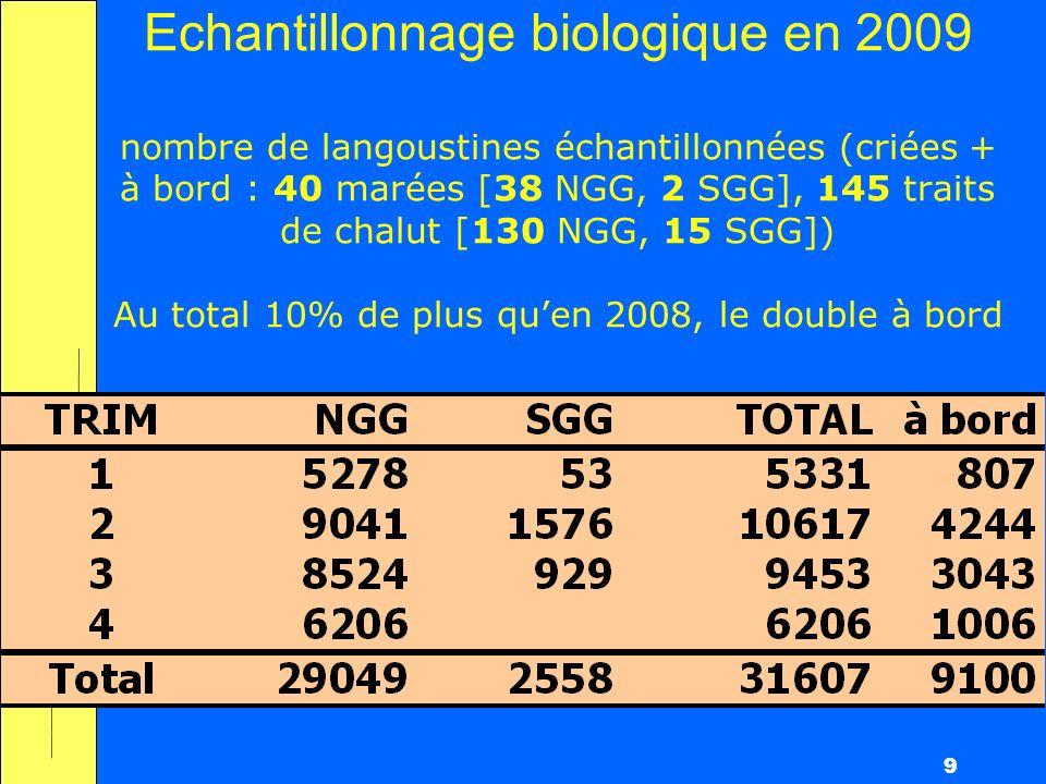 9 Echantillonnage biologique en 2009 nombre de langoustines échantillonnées (criées + à bord : 40 marées [38 NGG, 2 SGG], 145 traits de chalut [130 NGG, 15 SGG]) Au total 10% de plus quen 2008, le double à bord