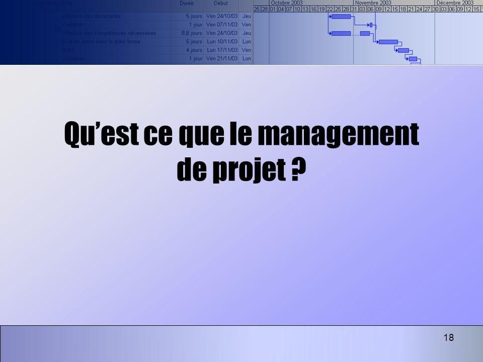 18 Quest ce que le management de projet ?