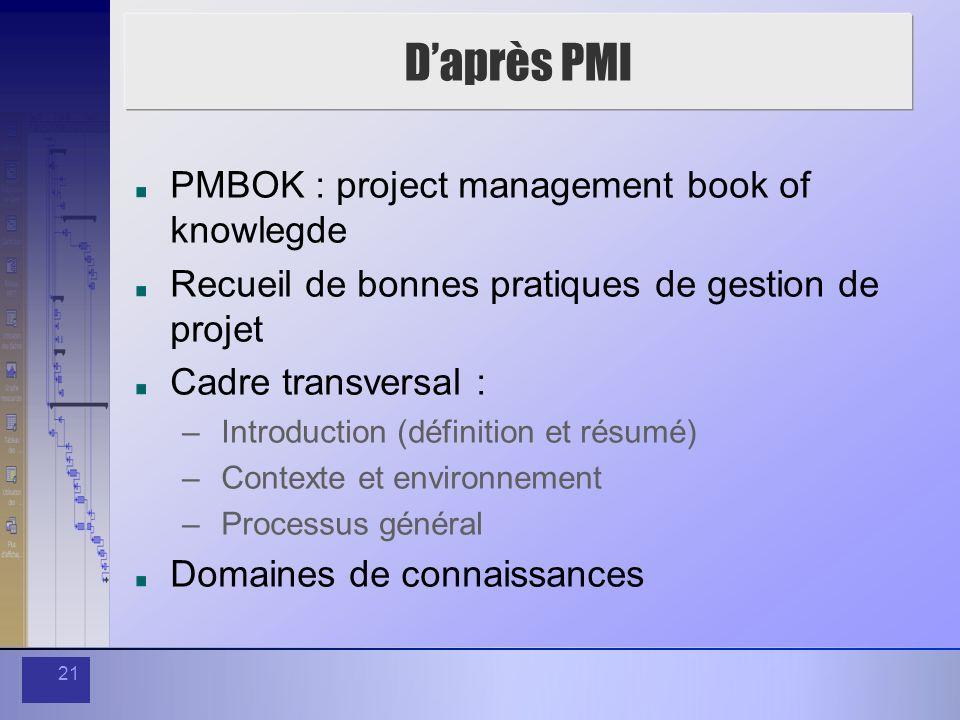 21 Daprès PMI PMBOK : project management book of knowlegde Recueil de bonnes pratiques de gestion de projet Cadre transversal : – Introduction (défini