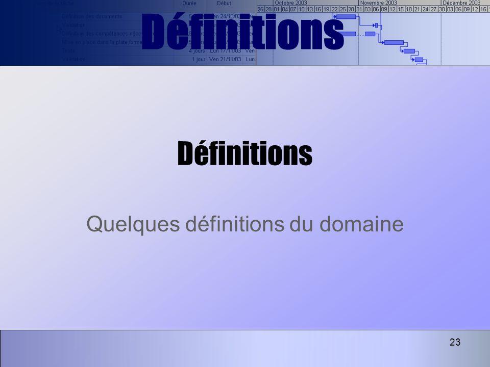 23 Définitions Quelques définitions du domaine Définitions
