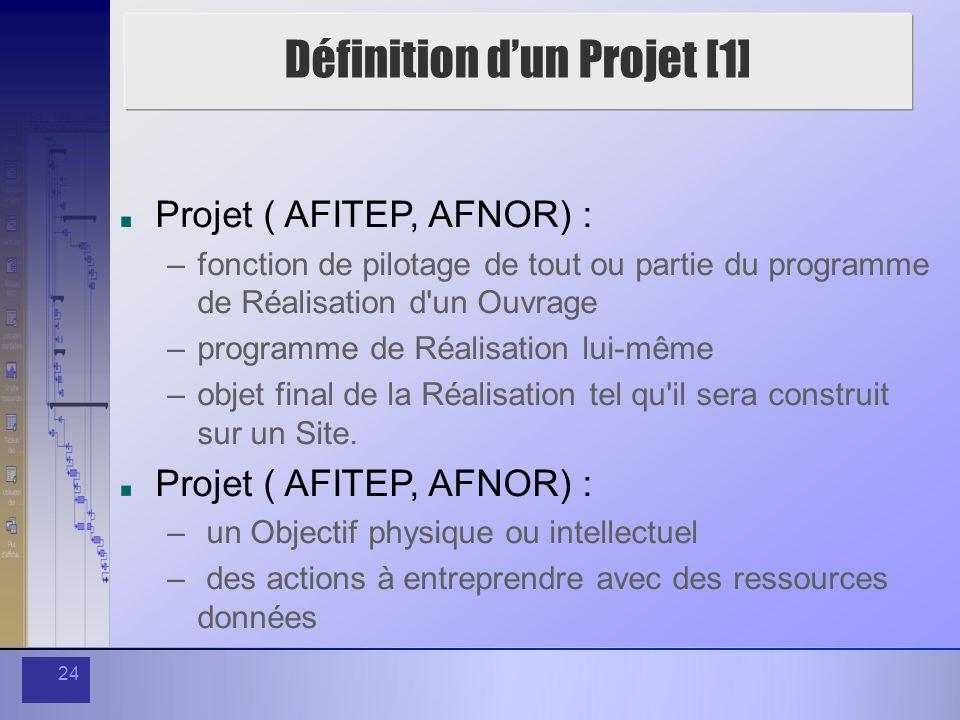 24 Définition dun Projet [1] Projet ( AFITEP, AFNOR) : –fonction de pilotage de tout ou partie du programme de Réalisation d'un Ouvrage –programme de