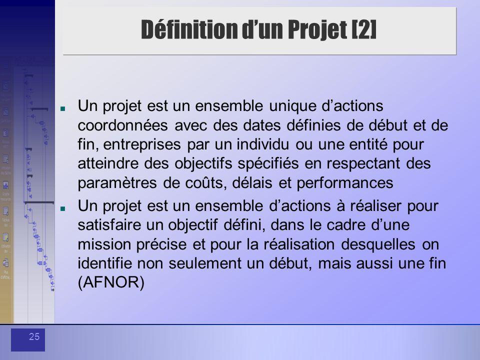 25 Définition dun Projet [2] Un projet est un ensemble unique dactions coordonnées avec des dates définies de début et de fin, entreprises par un indi