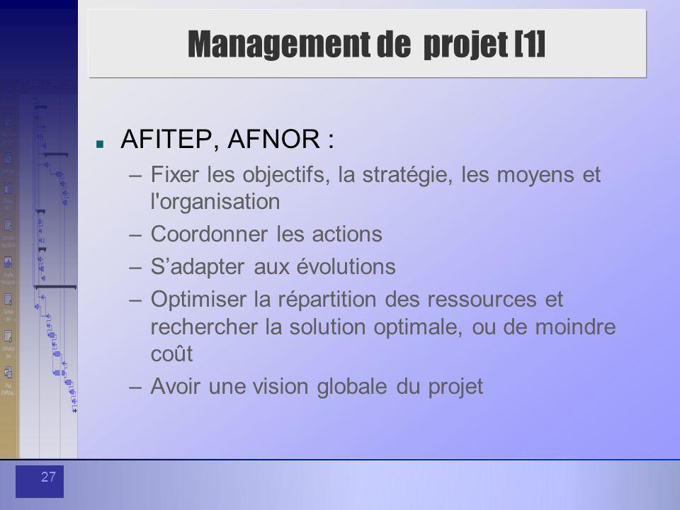 27 Management de projet [1] AFITEP, AFNOR : –Fixer les objectifs, la stratégie, les moyens et l'organisation –Coordonner les actions –Sadapter aux évo