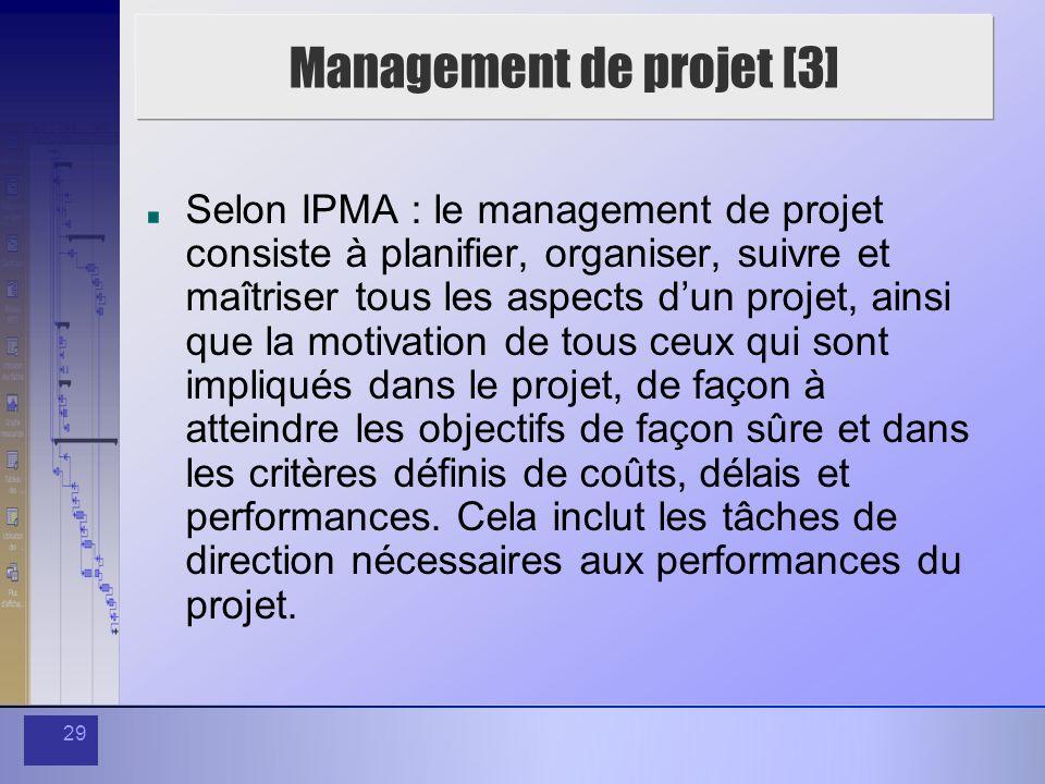 29 Management de projet [3] Selon IPMA : le management de projet consiste à planifier, organiser, suivre et maîtriser tous les aspects dun projet, ain