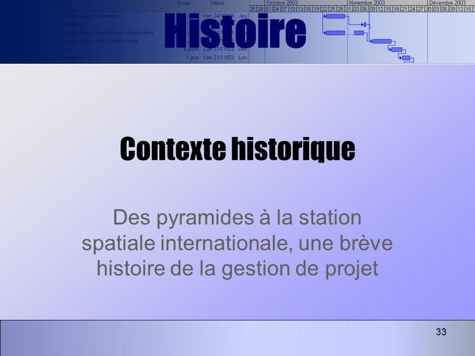 33 Contexte historique Des pyramides à la station spatiale internationale, une brève histoire de la gestion de projet Histoire