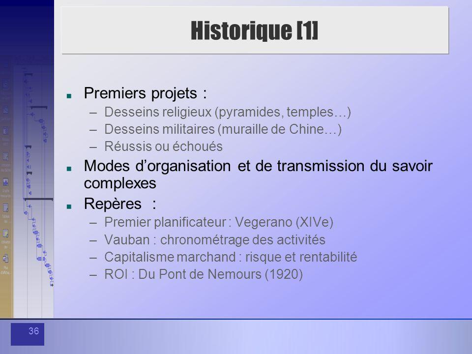 36 Historique [1] Premiers projets : –Desseins religieux (pyramides, temples…) –Desseins militaires (muraille de Chine…) –Réussis ou échoués Modes dor