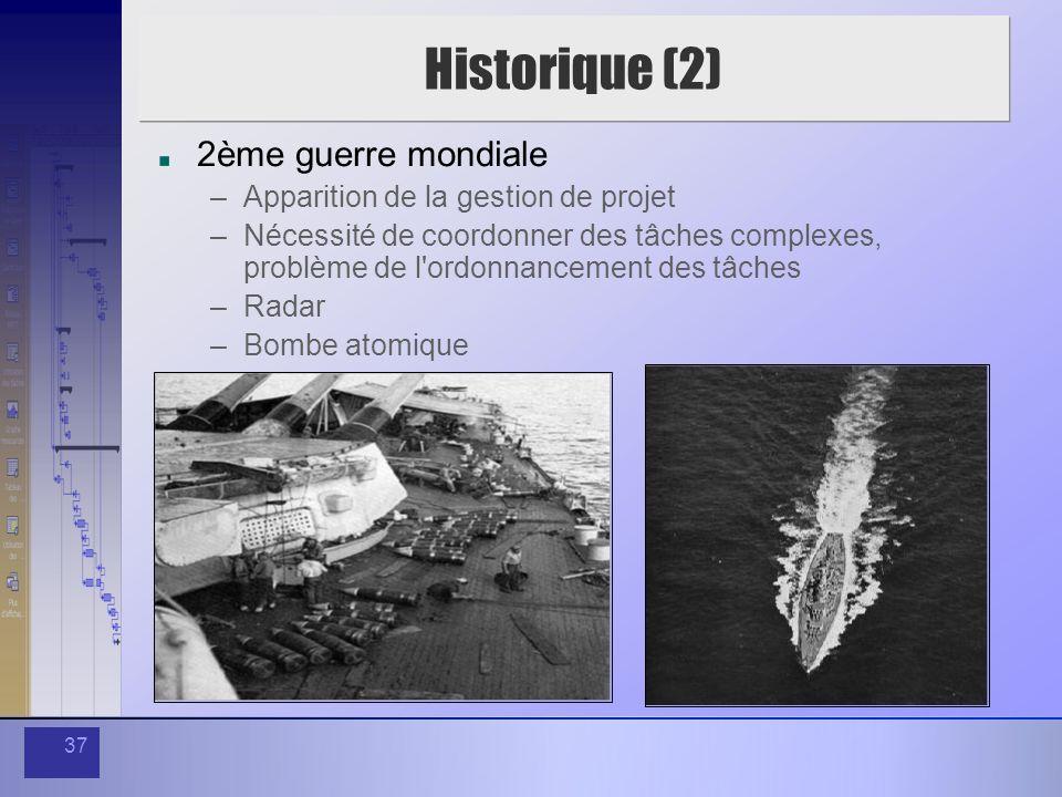 37 Historique (2) 2ème guerre mondiale –Apparition de la gestion de projet –Nécessité de coordonner des tâches complexes, problème de l'ordonnancement