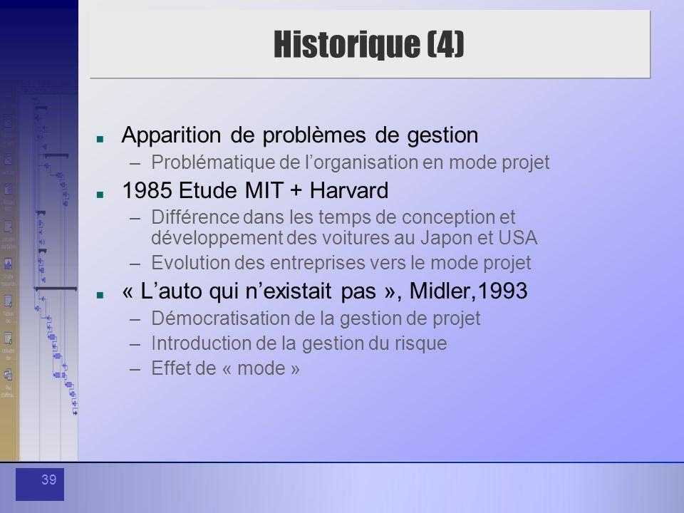 39 Historique (4) Apparition de problèmes de gestion –Problématique de lorganisation en mode projet 1985 Etude MIT + Harvard –Différence dans les temp