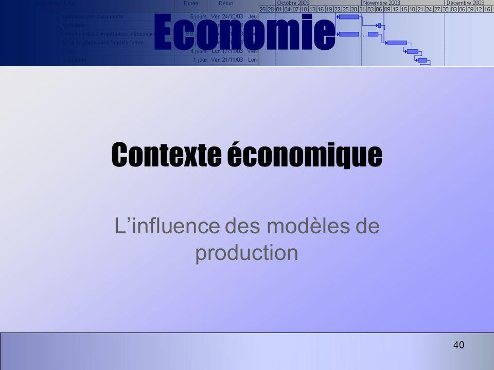40 Contexte économique Linfluence des modèles de production Economie