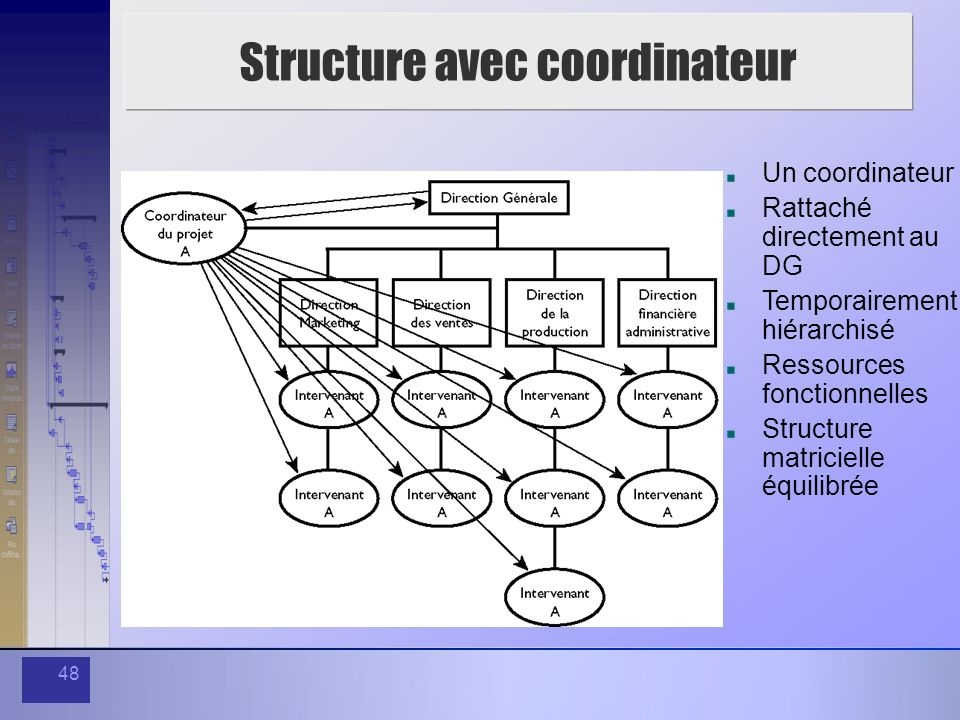 48 Structure avec coordinateur Un coordinateur Rattaché directement au DG Temporairement hiérarchisé Ressources fonctionnelles Structure matricielle é