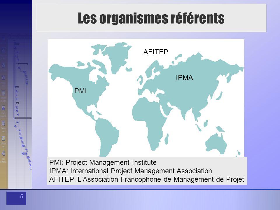 5 Les organismes référents PMI IPMA AFITEP PMI: Project Management Institute IPMA: International Project Management Association AFITEP: L'Association