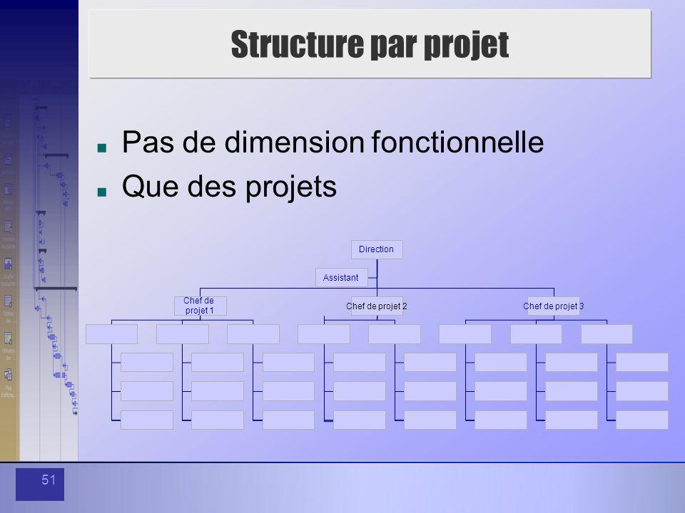 51 Structure par projet Pas de dimension fonctionnelle Que des projets Direction Assistant Chef de projet 1 Chef de projet 2Chef de projet 3