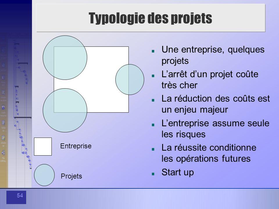 54 Typologie des projets Une entreprise, quelques projets Larrêt dun projet coûte très cher La réduction des coûts est un enjeu majeur Lentreprise ass