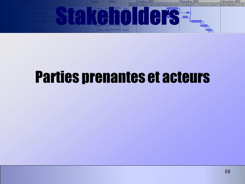 59 Parties prenantes et acteurs Stakeholders