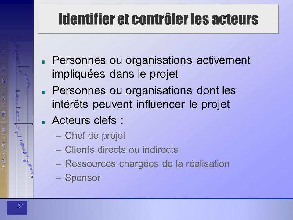 61 Identifier et contrôler les acteurs Personnes ou organisations activement impliquées dans le projet Personnes ou organisations dont les intérêts pe