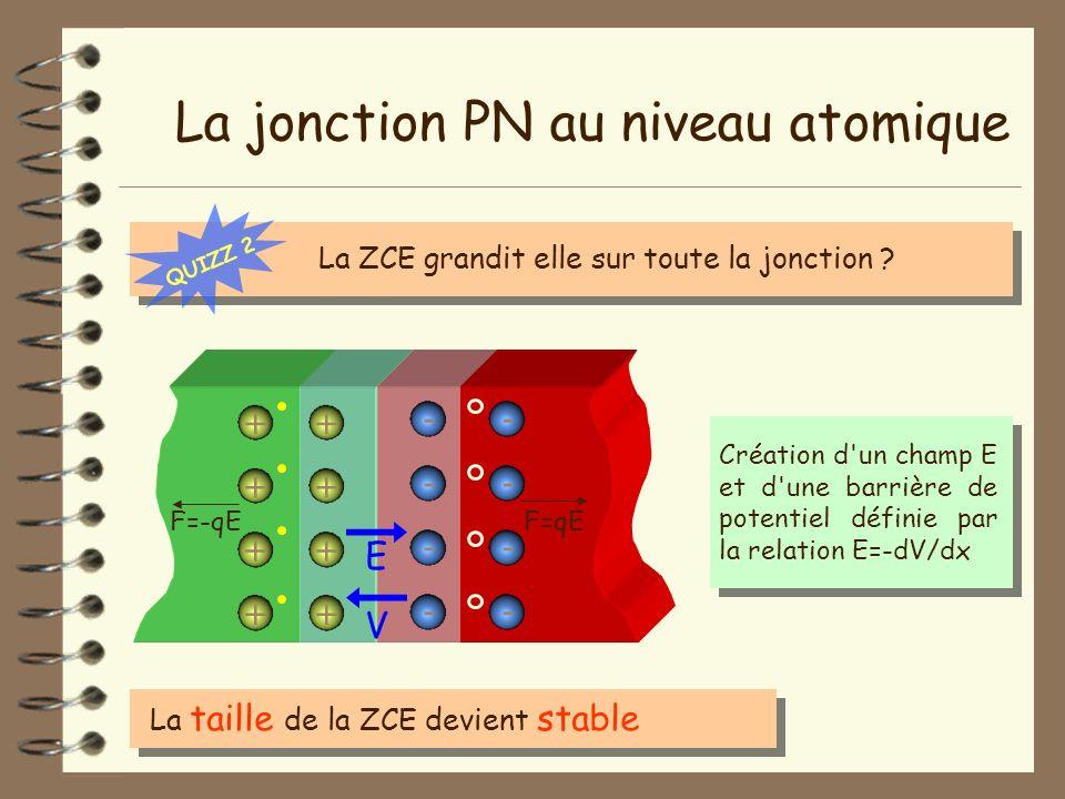 La jonction PN au niveau atomique La taille de la ZCE devient stable - - - - + + + + + + + + - - - - Création d'un champ E et d'une barrière de potent
