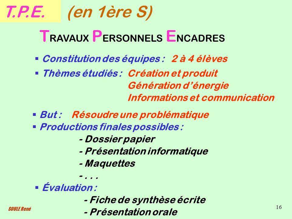SOULE René 16 T.P.E. T RAVAUX P ERSONNELS E NCADRES Constitution des équipes : Thèmes étudiés : But : Productions finales possibles : - Présentation i