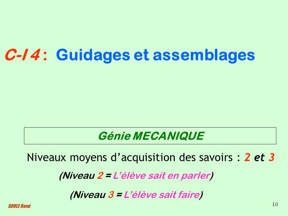 SOULE René 10 Guidages et assemblages Niveaux moyens dacquisition des savoirs : 2 et 3 (Niveau 2 = Lélève sait en parler) C-I 4 : (Niveau 3 = Lélève s