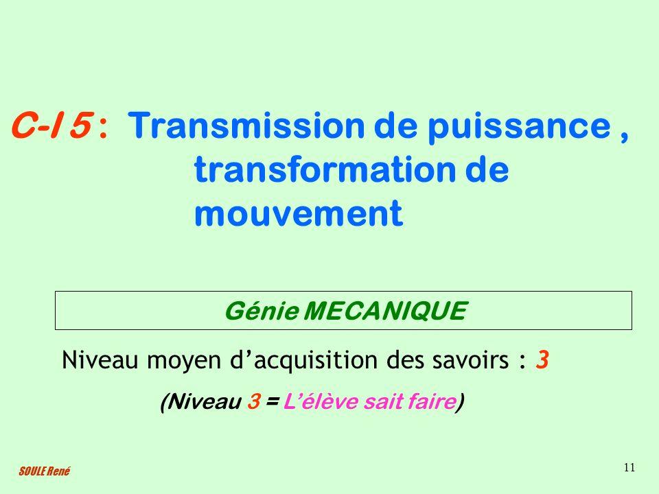 SOULE René 11 Transmission de puissance, transformation de mouvement Niveau moyen dacquisition des savoirs : 3 (Niveau 3 = Lélève sait faire) C-I 5 :