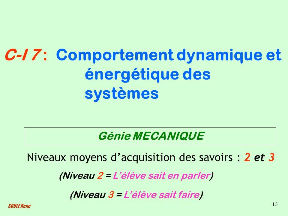 SOULE René 13 Comportement dynamique et énergétique des systèmes Niveaux moyens dacquisition des savoirs : 2 et 3 C-I 7 : (Niveau 2 = Lélève sait en p