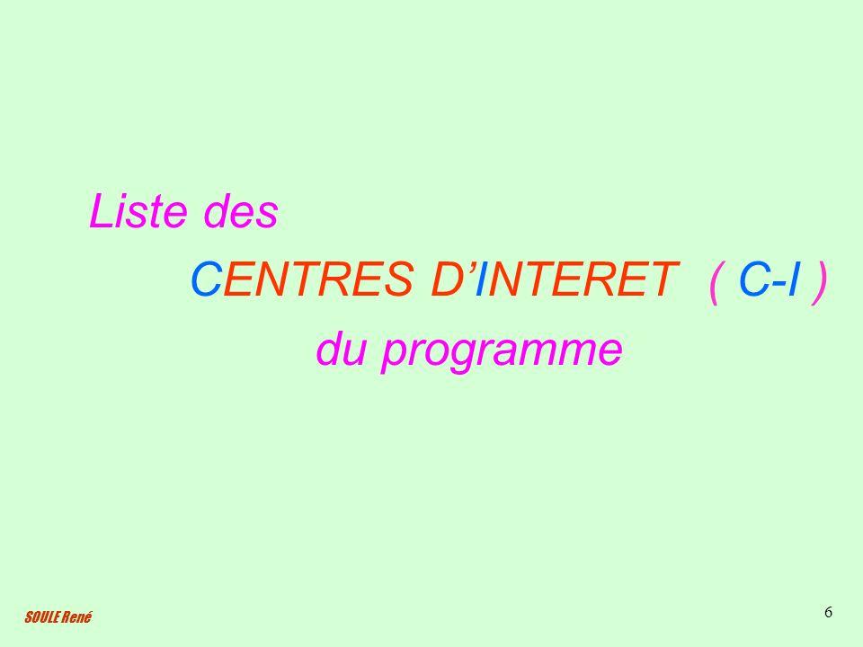 SOULE René 6 Liste des CENTRES DINTERET ( C-I ) du programme
