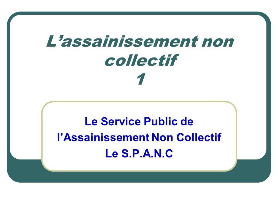 Lassainissement non collectif 1 Le Service Public de lAssainissement Non Collectif Le S.P.A.N.C