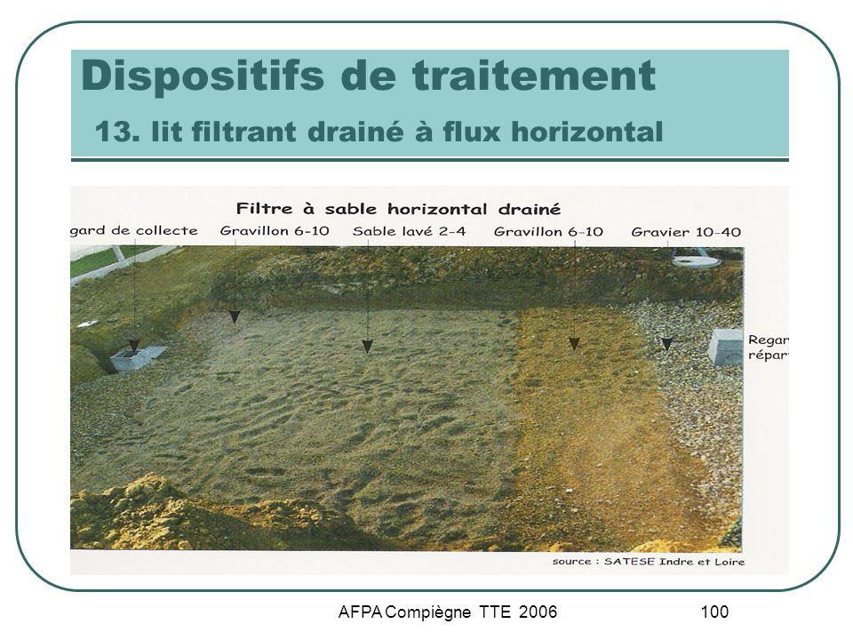 AFPA Compiègne TTE 2006 100 Dispositifs de traitement 13. lit filtrant drainé à flux horizontal