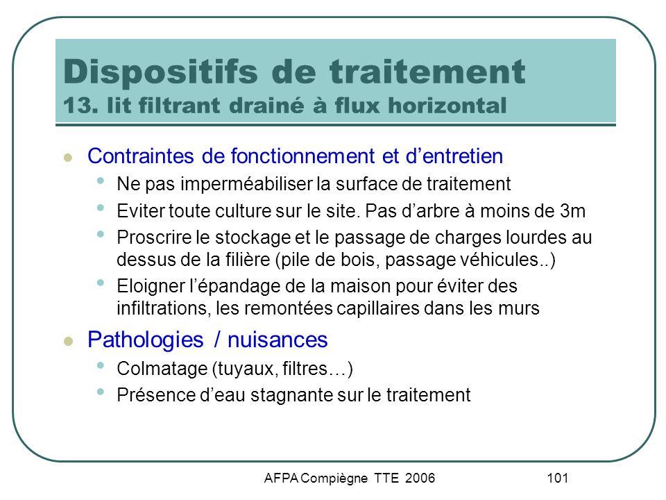 AFPA Compiègne TTE 2006 101 Dispositifs de traitement 13. lit filtrant drainé à flux horizontal Contraintes de fonctionnement et dentretien Ne pas imp