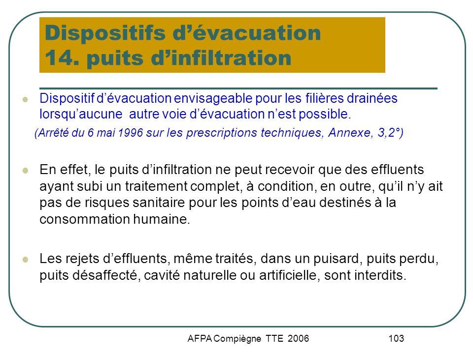 AFPA Compiègne TTE 2006 103 Dispositifs dévacuation 14. puits dinfiltration Dispositif dévacuation envisageable pour les filières drainées lorsquaucun