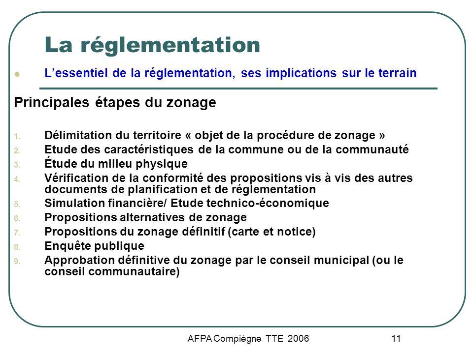 AFPA Compiègne TTE 2006 11 La réglementation Lessentiel de la réglementation, ses implications sur le terrain Principales étapes du zonage 1. Délimita