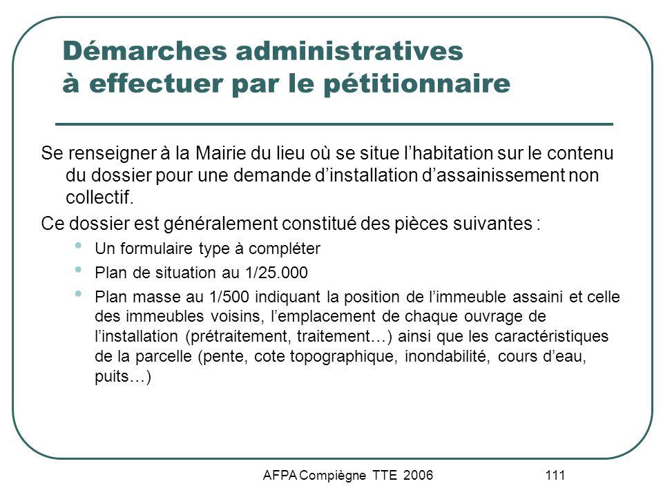 AFPA Compiègne TTE 2006 111 Démarches administratives à effectuer par le pétitionnaire Se renseigner à la Mairie du lieu où se situe lhabitation sur l