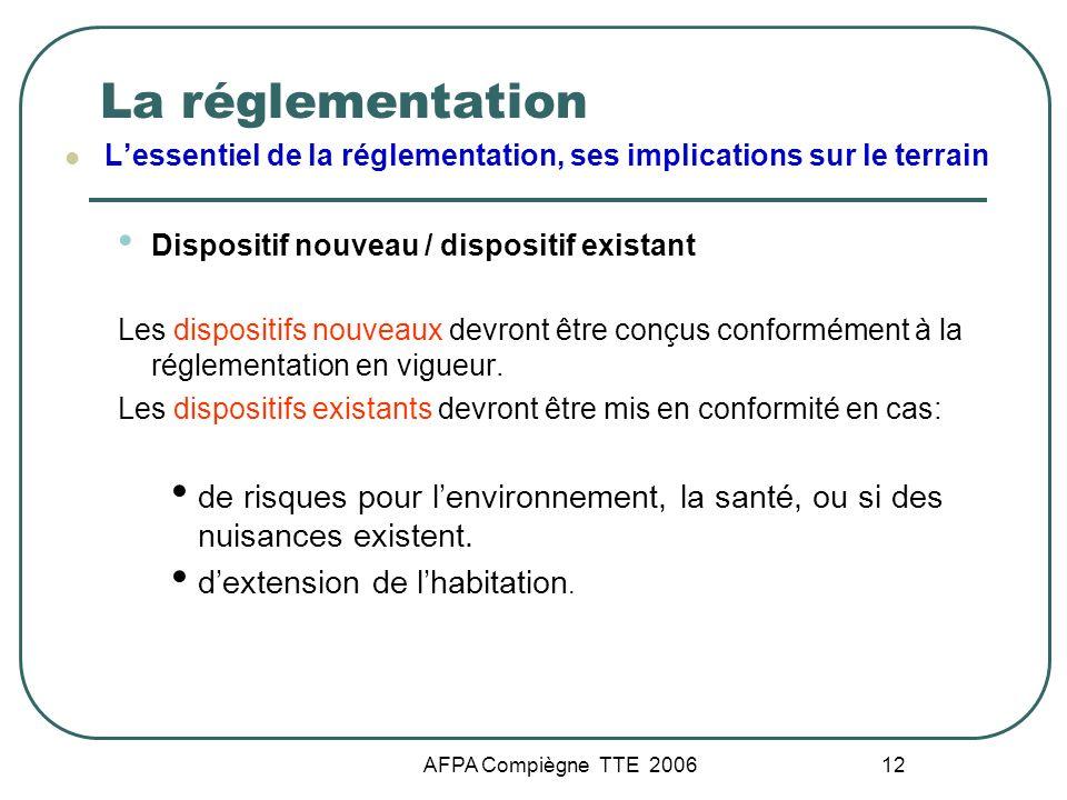 AFPA Compiègne TTE 2006 12 La réglementation Lessentiel de la réglementation, ses implications sur le terrain Dispositif nouveau / dispositif existant