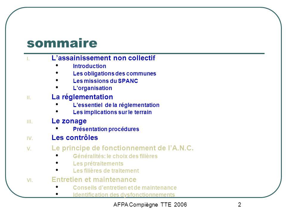 AFPA Compiègne TTE 2006 2 sommaire I. Lassainissement non collectif Introduction Les obligations des communes Les missions du SPANC Lorganisation II.