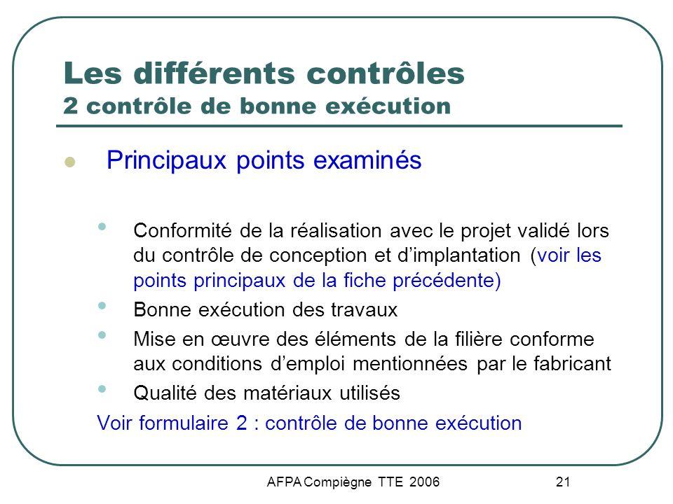 AFPA Compiègne TTE 2006 21 Les différents contrôles 2 contrôle de bonne exécution Principaux points examinés Conformité de la réalisation avec le proj