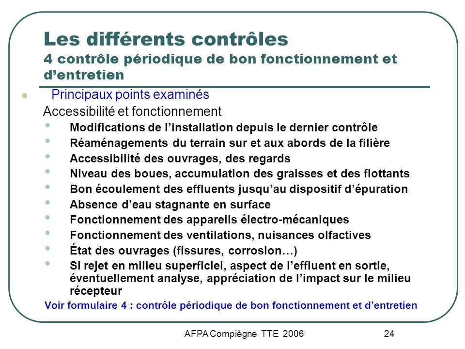 AFPA Compiègne TTE 2006 24 Les différents contrôles 4 contrôle périodique de bon fonctionnement et dentretien Principaux points examinés Accessibilité