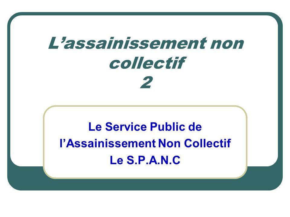 Lassainissement non collectif 2 Le Service Public de lAssainissement Non Collectif Le S.P.A.N.C