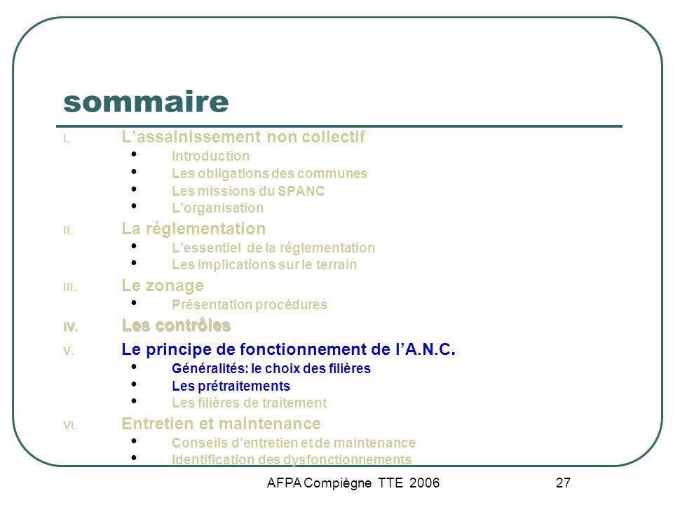AFPA Compiègne TTE 2006 27 sommaire I. Lassainissement non collectif Introduction Les obligations des communes Les missions du SPANC Lorganisation II.