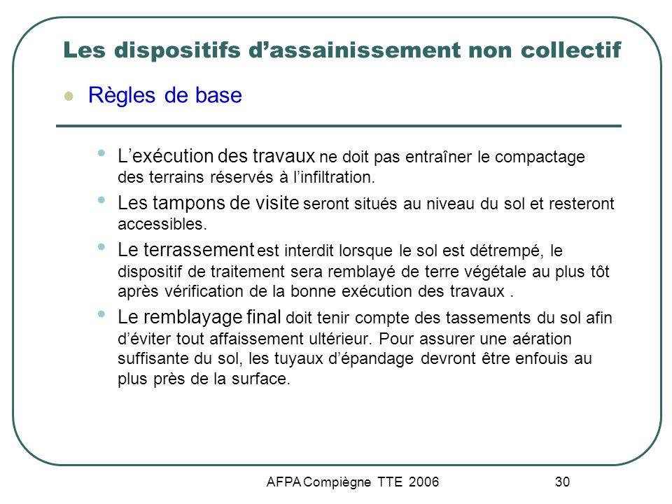 AFPA Compiègne TTE 2006 30 Les dispositifs dassainissement non collectif Règles de base Lexécution des travaux ne doit pas entraîner le compactage des