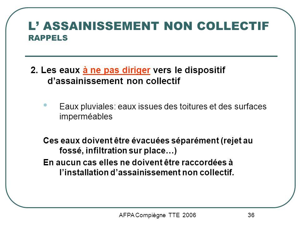 AFPA Compiègne TTE 2006 36 L ASSAINISSEMENT NON COLLECTIF RAPPELS 2. Les eaux à ne pas diriger vers le dispositif dassainissement non collectif Eaux p