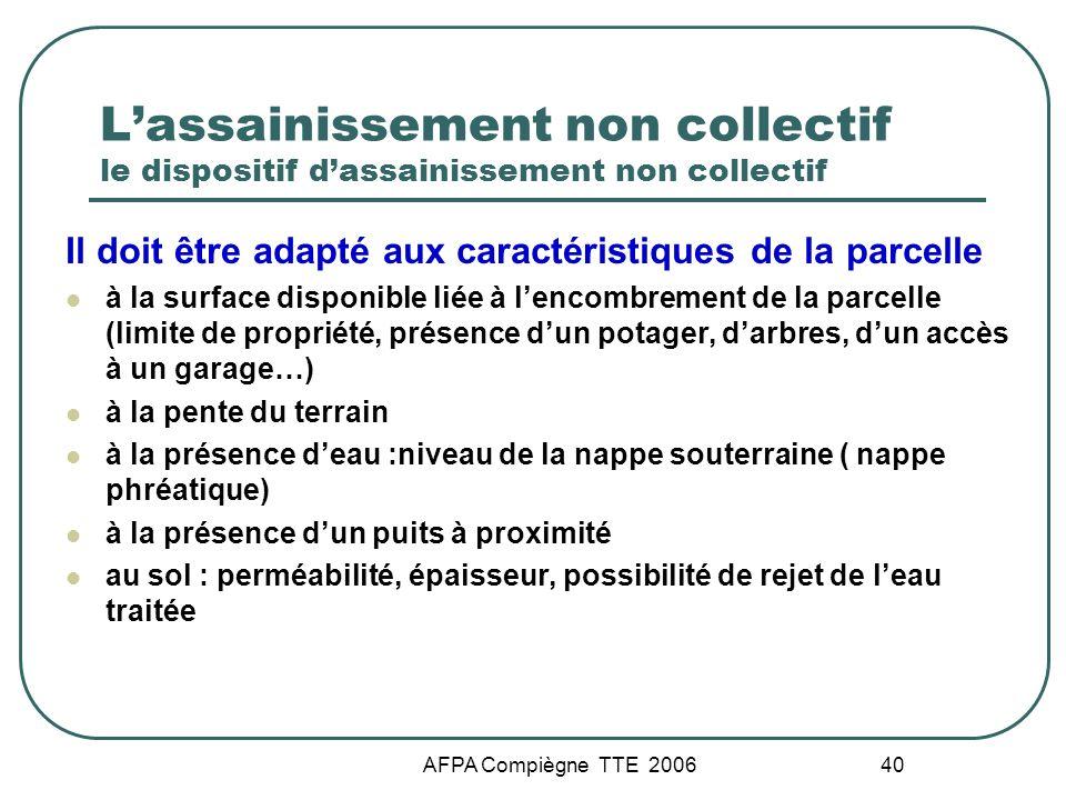 AFPA Compiègne TTE 2006 40 Lassainissement non collectif le dispositif dassainissement non collectif Il doit être adapté aux caractéristiques de la pa