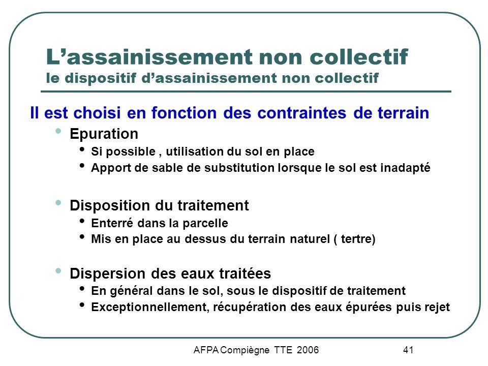 AFPA Compiègne TTE 2006 41 Lassainissement non collectif le dispositif dassainissement non collectif Il est choisi en fonction des contraintes de terr