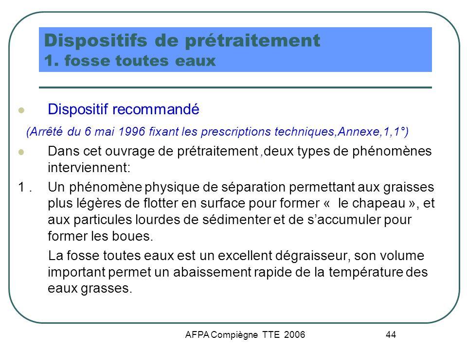 AFPA Compiègne TTE 2006 44 Dispositifs de prétraitement 1. fosse toutes eaux Dispositif recommandé (Arrêté du 6 mai 1996 fixant les prescriptions tech