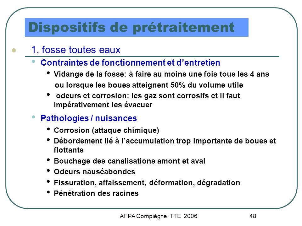 AFPA Compiègne TTE 2006 48 Dispositifs de prétraitement 1. fosse toutes eaux Contraintes de fonctionnement et dentretien Vidange de la fosse: à faire