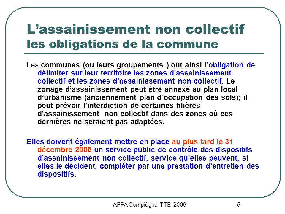 AFPA Compiègne TTE 2006 5 Lassainissement non collectif les obligations de la commune Les communes (ou leurs groupements ) ont ainsi lobligation de dé