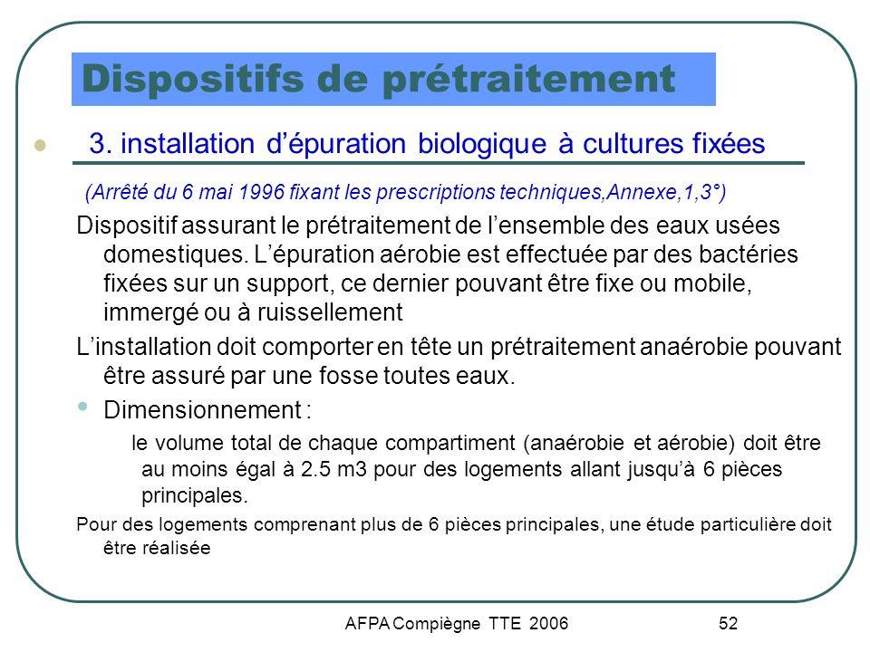 AFPA Compiègne TTE 2006 52 Dispositifs de prétraitement 3. installation dépuration biologique à cultures fixées (Arrêté du 6 mai 1996 fixant les presc